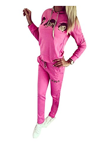 Baymate Damen Trainingsanzug Affe Muster Drucken Hoodie Sweatshirt Anzug mit Hose 2pcs Rose L