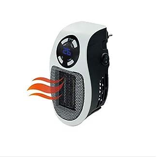 BUG-L Mini Calentador, Calentador Eléctrico 500W Termostato, Temporizador Ventilador Compacto Digital Plug-in, Con Pantalla LED