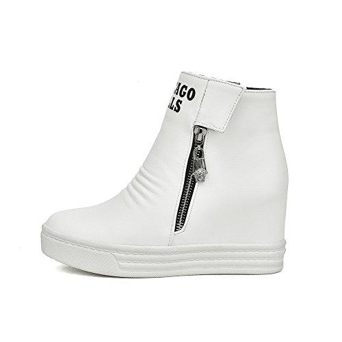 VogueZone009 Damen Haken-Und-Loop Rund Zehe Hoher Absatz Pu Leder Stiefel mit Reißverschluss Weiß