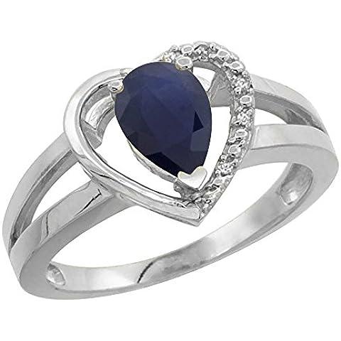 Revoni 14ct de oro blanco de Natural azul de 7 x 5 mm Topaz anillo Diamante acento de la pera