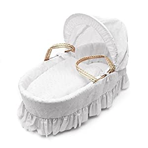 White Broderie Anglaise Moses Basket Dressings only(Basket not included)   13