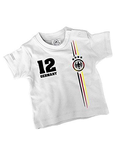 DEUTSCHLAND LOGO RUND - DELUXE - BABY - WEISS - T-SHIRT by Jayess-Baby Gr. 68/74 (Fußball-baby-t-shirt)