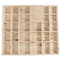Search Box Wooden Trinket Display Shelf with 28 Compartments | Lenght 450 x Width 400 x Thickness 40mm | Wall Hanging Unit Shelves Organiser | Unpainted & Untreated Natural Wood to Decorate