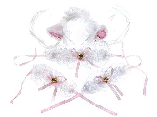 Niedliche Weiße Katze Kostüm - CoolChange süßes Katzen Maid Set bestehend aus Haarreifen, Halsband und 2 Armbändern
