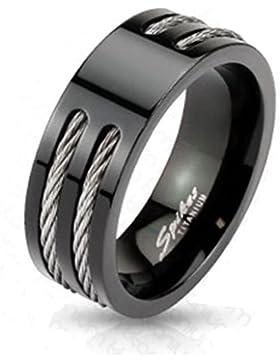 Paula & Fritz® Titan Ring Stahl Wire verfügbare Ringgrößen 60 (19) – 72 (23) R-TM-3653