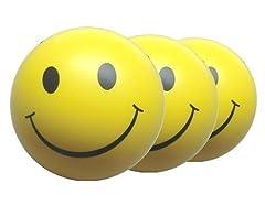 Idea Regalo - 2 x Happy Palla Gialla - Smile - Rimbalzante Sfere Anti Stress