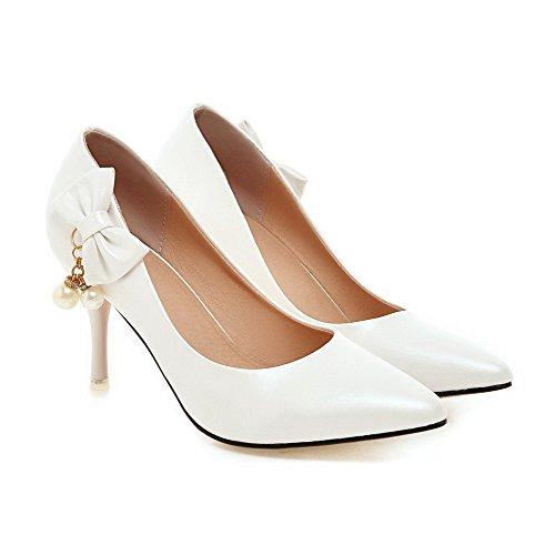 AgooLar Damen Pu Leder Stiletto Spitz Schließen Zehe Ziehen Auf Pumps Schuhe Weiß