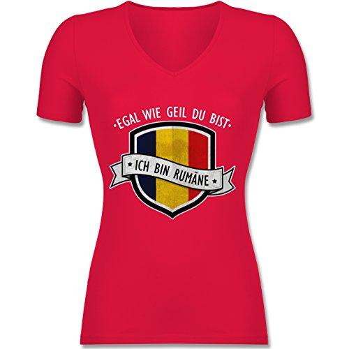 Shirtracer Länder - Egal wie Geil Du BIST - Ich Bin Rumäne - Tailliertes T-Shirt mit V-Ausschnitt für Frauen Rot