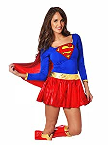 Ladies Sexy Supergirl Superwoman Costume Boot Covers & Pants (small)
