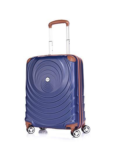 Verage Spiral ABS Hartschale Trolley S-19 Zoll-54L (55x38x20 cm) Händgepack in Blau, 4x360 Grad Doppelrolle Reisekoffer, TSA integriert, erweiterbar