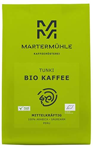 Martermühle | Bio Kaffee Peru Tunki (1kg) | Ganze Bohnen | Premium Kaffeebohnen aus Peru | Schonend geröstet | Kaffee säurearm | 100% Arabica