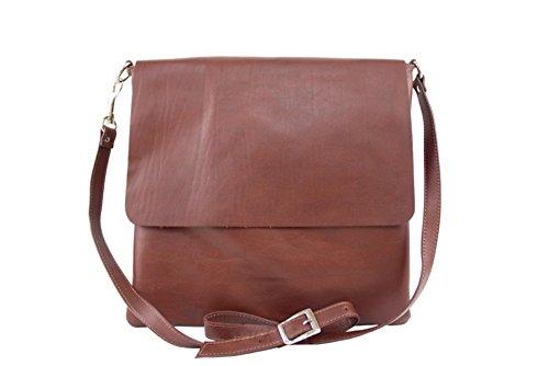 Umhangetasche aus echtem Leder, hergestellt in Italien, Frauentasche MainApps Marrone