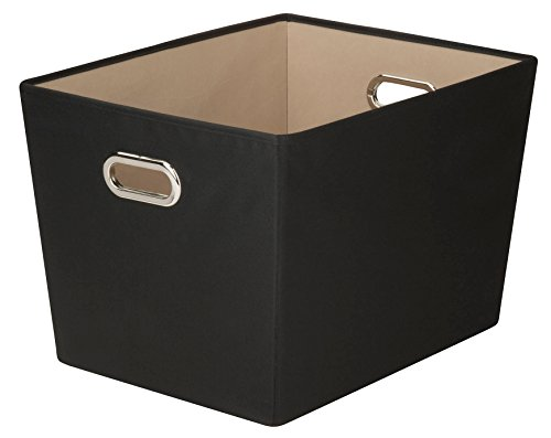 honey-can-do-decorative-storage-bin-with-chrome-handles-black-large