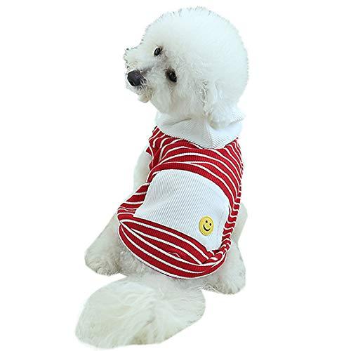 Pzssxdzw cane pet costume primavera ed estate nuovo stile costume da cane felpa con cappuccio in cotone a righe vestiti da cucciolo di teddy vestiti dell'animale domestico,red,xs