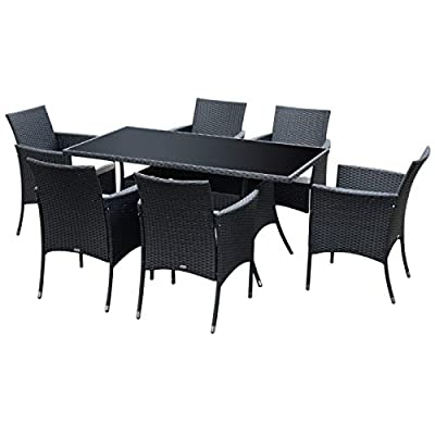 Outsunny Rattan Garden Furniture Dining 7 pc