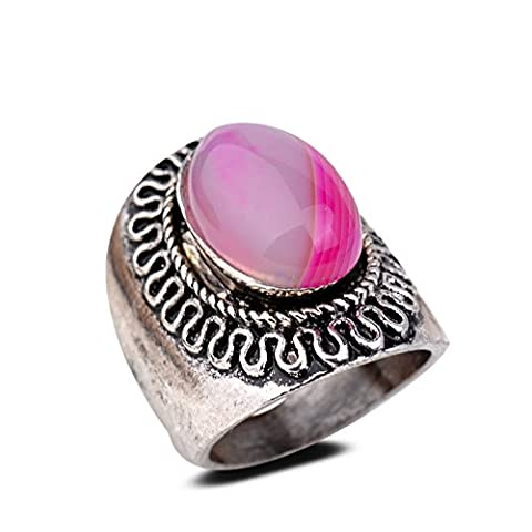 YAZILIND Vintage Antique Oval Cut Pink Agate Retro Silver Plated M Ring Women