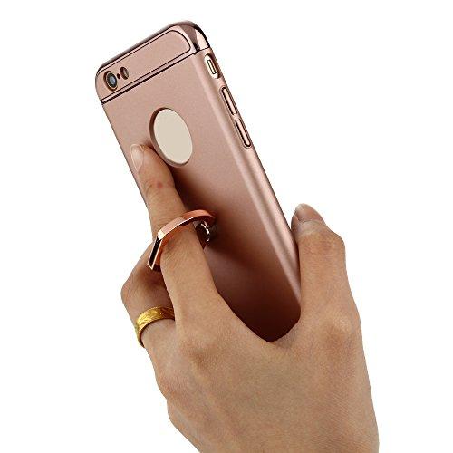 Skitic 360 Degrés de Rotation Ring Stand Holder Clair Housse de Protection Étui Coque pour iPhone 6 / iPhone 6S, Ultra Mince 3 In 1 Hybrid Dur PC case Protecteur Bumper cover avec Electroplate Plating Or rose