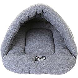 Cómoda cama iglú para gatos color gris