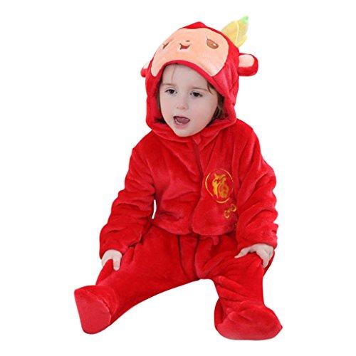 Affen-Kostüm in Rot, Ganzkörper-Strampler für Babys und Klein-Kinder, Verkleidung mit Kapuze und witzigen Details wie Banane und Schwänzchen - Äffchen-Onesie Jumpsuit Fasching Karneval