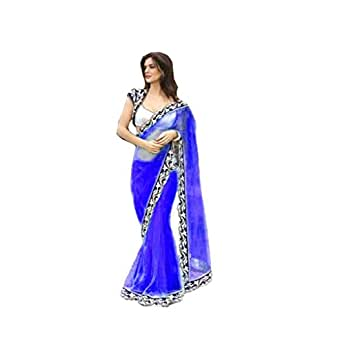 Sarees (Saree for Women Latest Design 2018 Sarees New Collection Fancy Saree Party wear Designer Sarees below 300 Rupees Sarees below 500 rupees With Blouse Saree) (Blue, Net)