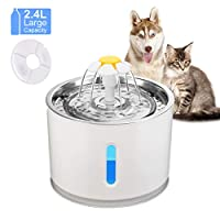FORNORM USB Pet Water Fountain, 2.4L/80OZ Quiet Pet Drinking Fountain with LED Indicator & Visible Water Level & Charcoal Filter for Cat and Dog (No Adapter)