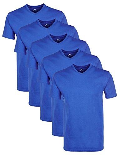 Lower East Herren T-Shirt mit V-Ausschnitt, 5er Pack, Einfarbig, Gr. XX-Large, Blau