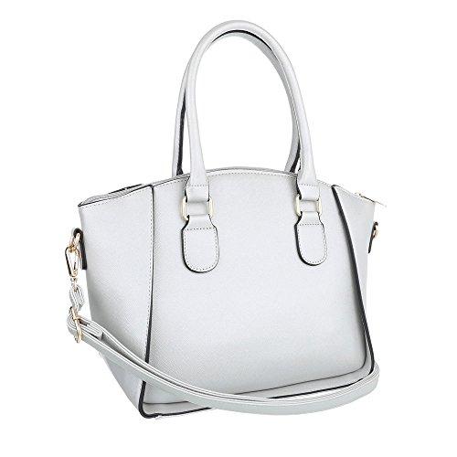 iTal-dEsiGn Damentasche Mittelgroße Schultertasche Handtasche Kunstleder TA-K615 Silber