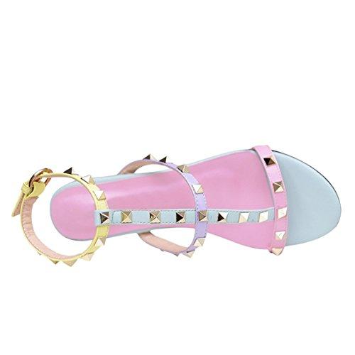 Arc-en-Ciel Damenschuhe offene Spitze Niet Mehrfarben flachen Sandalen Purple