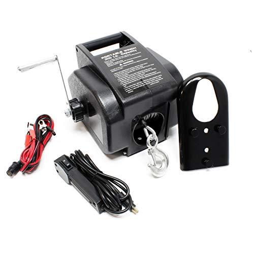 WilTec Treuil électrique 12 V Traction Jusqu'à 4990 Kg Treuil à câble Outil Bateau Remorque