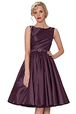 SEXYHER Clothing Classy Audrey Hepburn Style Vintage Classic 1950's Rockabilly Swing Evening Dress - RBJ1401(UK12,Plum-40T)