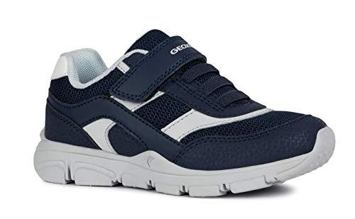 Geox New Torque Boy J847NA Jungen Slip-on Sneaker,Kinder Halbschuh,Sportschuh,Slipper,Gummizug,Klettverschuss,Navy/Grey,39