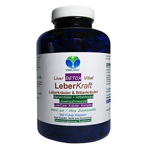 Leber Kraft Liver Care DETOX Vital Komplex Leberkräuter & Bitterkräuter 360 Kapseln Mariendistel + Artischocke + Löwenzahn NATUR pur OHNE Zusatzstoffe. 26525-360 -