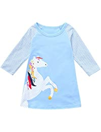 Luckycat Ropa Bebe Niña Primavera y Verano Infantil Recien Nacido Vestidos Bebé Niña Vestido Niña Poni