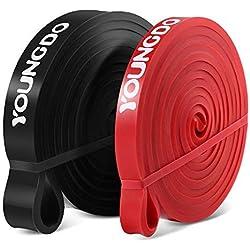 Youngdo Bandas de resistencia, cintas elásticas para Yoga, material de látex (negro + rojo)