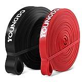 Youngdo Bandas de Resistencia Cintas Elásticas Fitness para Musculación, Yoga, Crossfit, Entrenamiento de Fuerza, Pilates, Fisioterapia Material de Látex (Negro+Rojo)