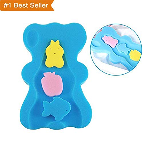 H-ONG Soft Infant Baby Bath Sponge Cushion Anti Bacterial and Skid Proof Baby Bath Mat Newborn Odor Free -
