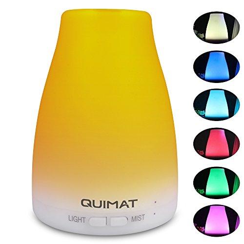 Quimat Difusor de Aroma 120ml / Humidificador Aceite Esencial Ultrasónico / Purificador de Aire con 7 Colores LED Auto-Apagado para Dormitorio Hogar Oficina Hotel SPA