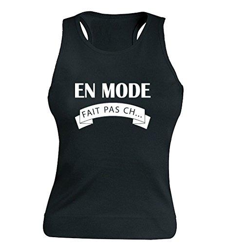 """T-shirt Femme 100% Coton - """"En mode Fait pas ch..."""" - Sans Manches Noir"""