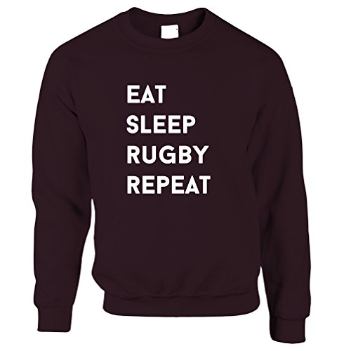 Tim And Ted Eat Sleep Rugby Repeat Hobby Sports Match Competition Slogan Skills Rugby World Cup Try Goal Ball Jumper Sweater Sweatshirt Cool Funny Gift Present