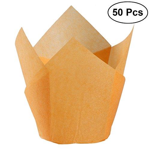 BESTONZON 50 stücke Backen Papier Fällen Cupcake Wraps Cupcake Halter Muffin Cups Tulip Form Liner für Hochzeit Geburtstag - Papier Wrap-halter