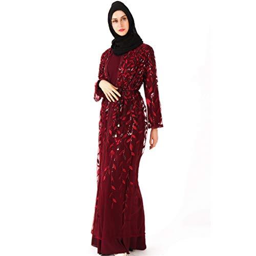 friendGG Damen Muslimische Frauen Islamische Sommer Langarm Maxi Abaya Kaftan Arabische Kleidung Open Strickjacke Maxi-Kleid Vintage-Kleider, Dubai Summerkleid Abendkleid