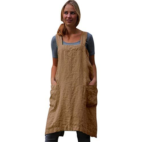 Frauen ärmelloses Kleid Damen Leinenkleid Baumwolle Pinafore Square Cross Schürze Gartenarbeit Pinafore Rock Spring Moonuy - Schürze Couch