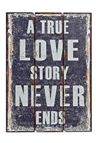 G.W. Cartel de Madera con Texto True Love, 70 x 50 cm, diseño Vintage