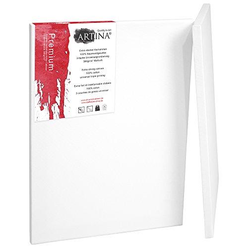 Artina 2er Set - 30x60 cm Leinwand aus 100% Baumwolle auf stabilem Keilrahmen in Premium Qualität - 380 g/m² (100% Baumwolle Zeichen)