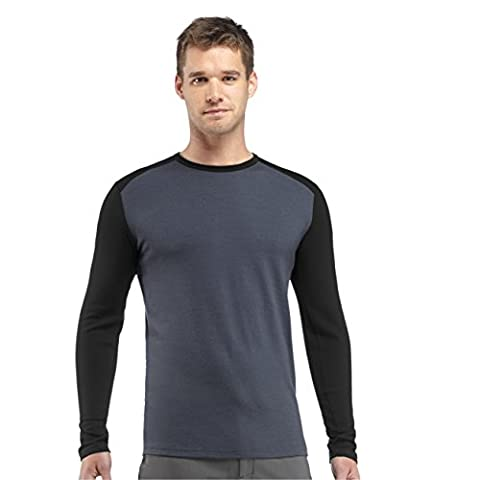 Icebreaker Tech Top Men's Long-Sleeved Crew Neck Undershirt, Men, Shirt Unterhemd Langarm Tech Top Longsleeve Crewe, Monsoon/Black,