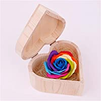 Janly Artificial Flower Heart Shaped Wooden Box Soap Flower Simulation Colorful Rose Small Wooden Box, Buy Now