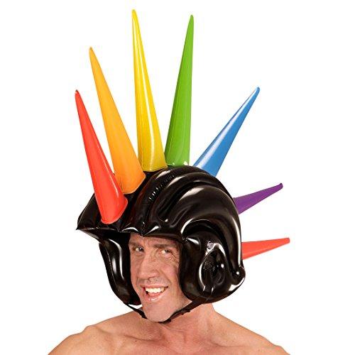 Rocker Kostüm Jahre 80er Punk - NET TOYS Irokesen Helm Punker Boxhelm aufblasbar 90 cm Punk Iro Kopfbedeckung Faschingshelm mit Spikes Rocker Gummihelm 80er Jahre Mottoparty Accessoire Karnevalskostüme Zubehör
