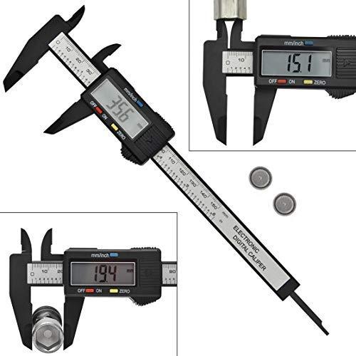 AWinEur Elektronischer Digital-Messschiebermit LCD-Bildschirm, 0-150 mm, aus Karbonfaser, Messwerkzeug, Konvertierung: Zoll, metrisch, Bruchteil