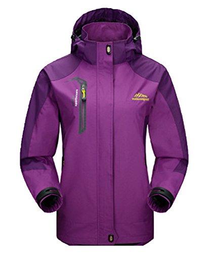 DEMO Herren Wasserdichte Regenjacken Männer Frauen Softshell Sport Outdoor Jacken mantel paar Oberbekleidung Breathable Mit Kapuze Camping Wandern Jacke mantel Lila-Damen