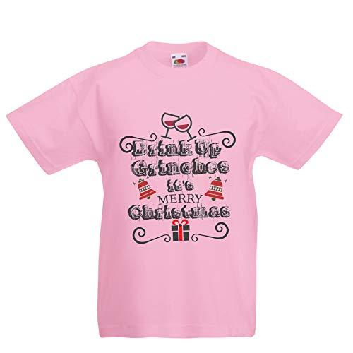 lepni.me Kinder Jungen/Mädchen T-Shirt Trinken Sie Grinches - Frohe Weihnachten (7-8 Years Pink Mehrfarben)